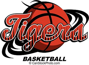 tigers basketball team design with swishes for school, ...