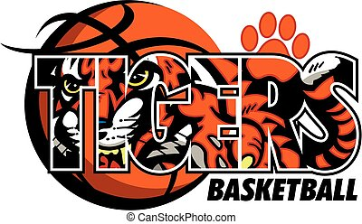 tiger basketball team design with tiger mascot inside basketball with paw print