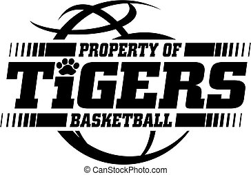 tigers basketball team design with ball for school, college...