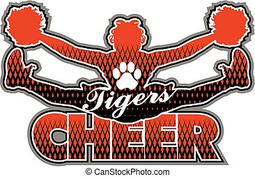tigers cheer team design with girl doing a toe touch for...