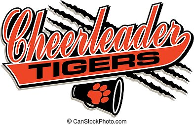 tigers cheerleader team design in script with tail for...
