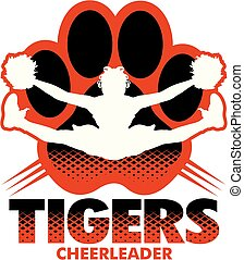 tigers cheerleader team design with girl doing a toe touch inside paw print for school, college or league