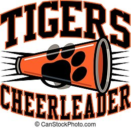 tigers cheerleader team design with megaphone and paw print ...