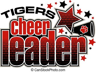 tigers cheerleader team design with megaphone and stars for...