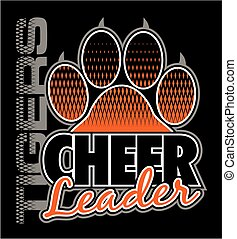 tigers cheerleader team design with paw print for school,...