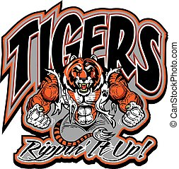 tigers ripping it up team design with muscular action tiger...