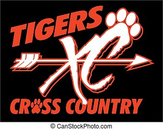 tigers cross country team design with arrow and paw print for school, college or league