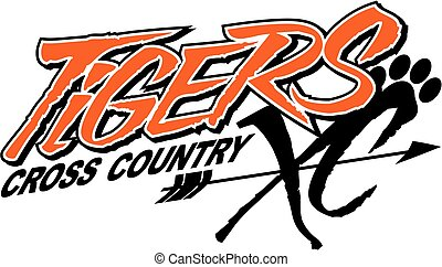 tigers cross country team design with arrow and paw print ...