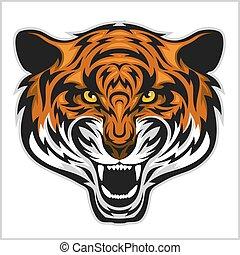 Tigers Face. Vector illustration of a tiger head.