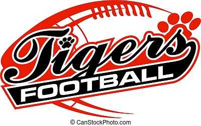 tigers football team design in script with paw print for...