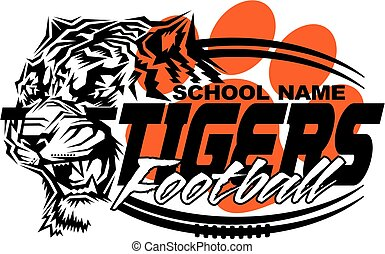 tigers football team design with mascot and laces for...