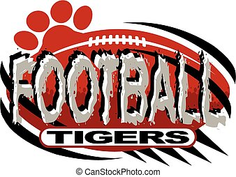 tigers football team design with ball and paw print