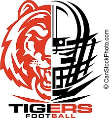 tigers football team design with mascot and facemask for ...