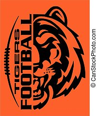 tigers football team design with mascot face and laces for school, college or league