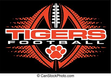 tigers football team design with paw print and ball for school, college or league