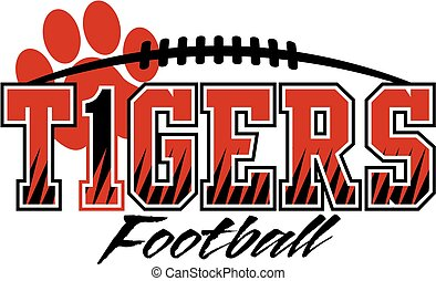 tigers football team design with paw print and laces for...