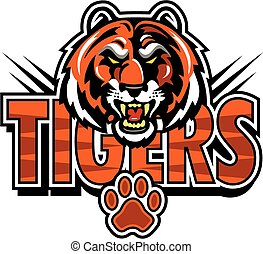 tigers mascot design with face and paw print