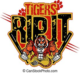 tigers rip it baseball team design with mascot for school, college or league