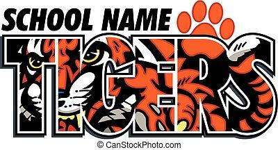 tigers school design with mascot inside wording