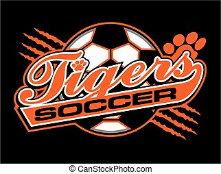 tigers soccer team design in script with ball for school, college or league