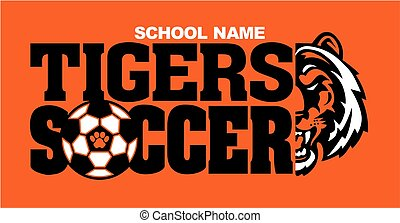 tigers soccer team design with half mascot face and ball for...