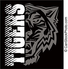 tigers team design with half mascot face for school, college or league