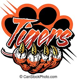 tigers team design with large claw and paw print