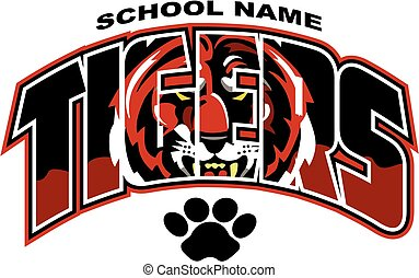 tigers team design with mascot face for school, college or...