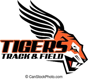 tigers track and field team design with mascot for school, ...