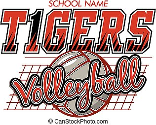 tigers volleyball team design with ball and net for school,...