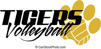 tigers volleyball design with paw print