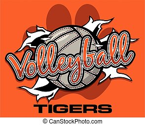 tigers volleyball team design with ball ripping through the...