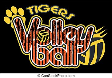 tigers volleyball team design with paw print for school,...
