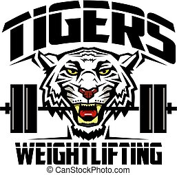 tigers weightlifting team design with mascot and barbell for...
