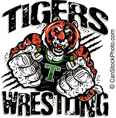 tigers wrestling team design with muscular mascot for...
