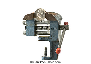 Tight budget - Coin in an old rusty vice on white background