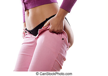 tight difficulties - girl trying to dress her tight jeans
