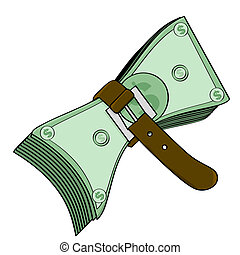 Concept illustration showing a belt tightened around some cash