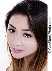 Tight Portrait Attractive Asian American Woman White Backgroung