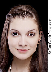 Tight Portrait Attractive Young Caucasian Teen Girl