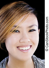 Tight Portrait Of Smiling Asian American Woman