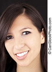 Tight Portrait Smiling Young Caucasian Woman Brunette
