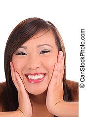 Tight portrait teen asian girl big smile