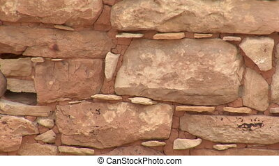tight shot of bricks and mortar on the ruins at Hovenweep national Monument