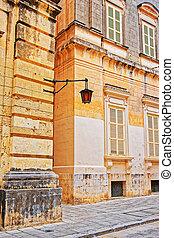 Tight Street with lantern at ancient city of Mdina