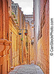 Tight Street with lantern in ancient city of Mdina