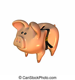 Piggy bank with a belt that's over tightened.