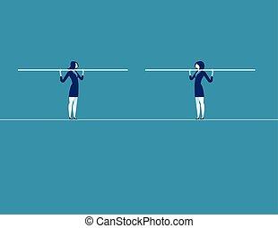 tightrope., concept, converger, vecteur, deux, illustration., business, femmes affaires
