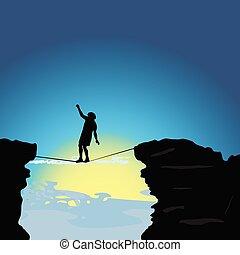 tightrope, geht, vektor, abbildung, mann
