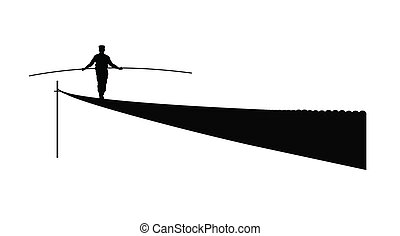 tightrope walker over white